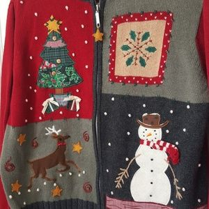 Christmas Sweater Holiday Patchwork Zippered